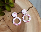 Polymer Clay Earrings, Circle Dangle, Valentine's Day, Red, White, Gold Foil, Terrazzo, Minimalist, Geometric, Modern, Statement