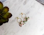 Polymer Clay Earrings, Olive Green, Peach, White, Gold Dangle Earrings, Three Leaf, Gold Circle, Minimalist, Geometric, Modern Earrings