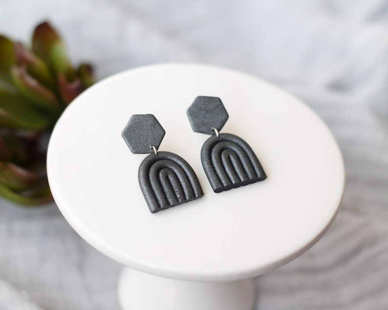 Polymer Clay Earrings Hexagons and Rainbows Black Gray image 0