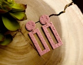 Polymer Clay Earrings, Circle Rectangle Cutout, Mauve Pink, Lavender Gray, Patterned, Minimalist, Geometric, Statement Earrings