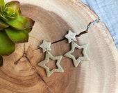 Polymer Clay Earrings, Gold Glitter Teal Orange Star Cutout Dangle, Minimalist, Geometric, Statement, Indie Style
