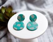 Polymer Clay Earrings, Circle Dangle, Jade Green, Granite Terrazzo, Minimalist, Geometric, Modern, Statement