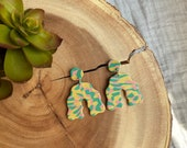 Polymer Clay Earrings, Scalloped Curvy Arch, Party, Green Pink Yellow, Marbled, Minimalist, Geometric, Modern, Statement Earrings