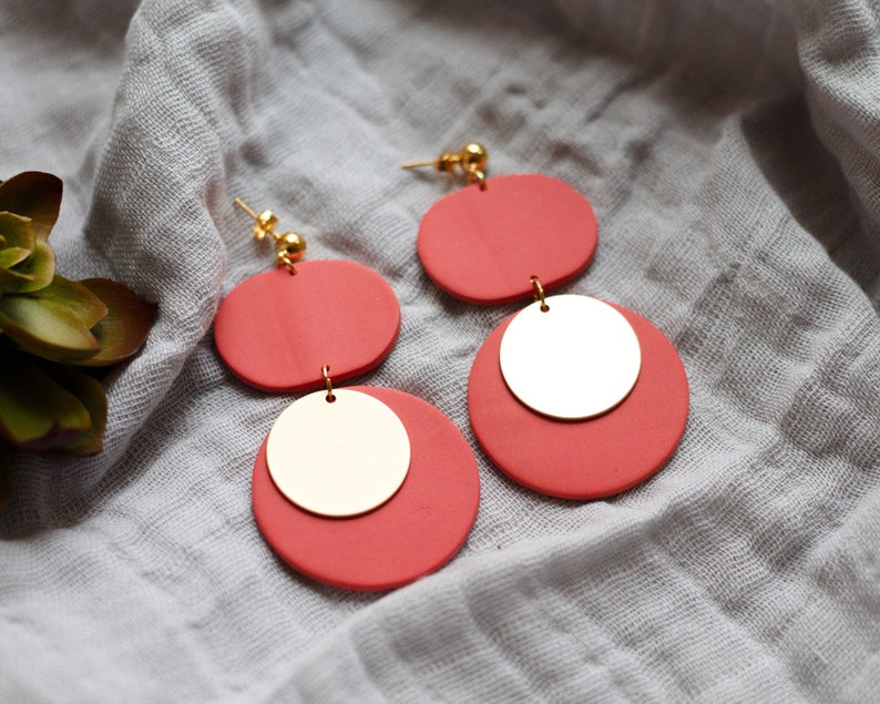 Polymer Clay Earrings Red Orange Gold Oval Circle Dangle image 0