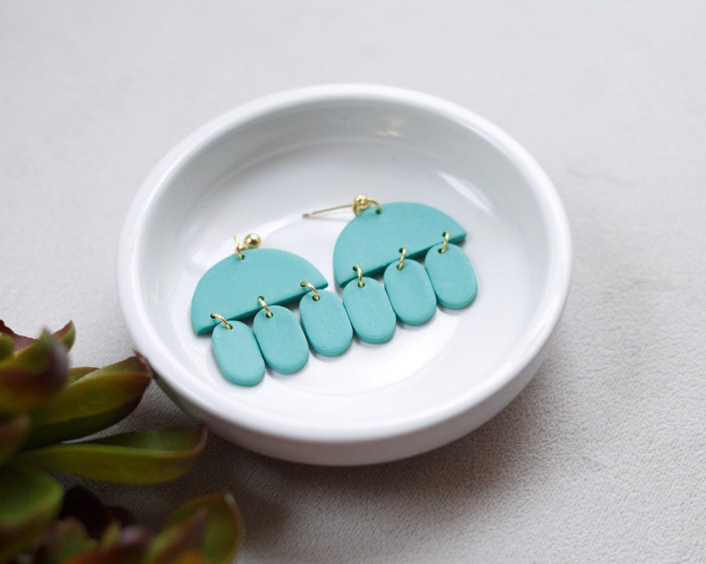 JELLY Polymer Clay Earrings Teal Light Teal Dangle image 0