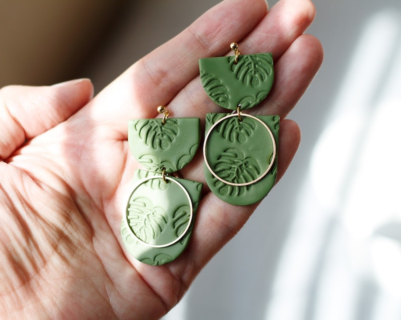 Polymer Clay Earrings SemiCircle Dangle Olive Green Soft Olive Green