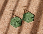 Polymer Clay Earrings, 2 Colors, Classy, Gold Triangle, Olive Green Hexagon, Palm Leaf, Tropical Leaf, Monstera Leaf, Minimalist
