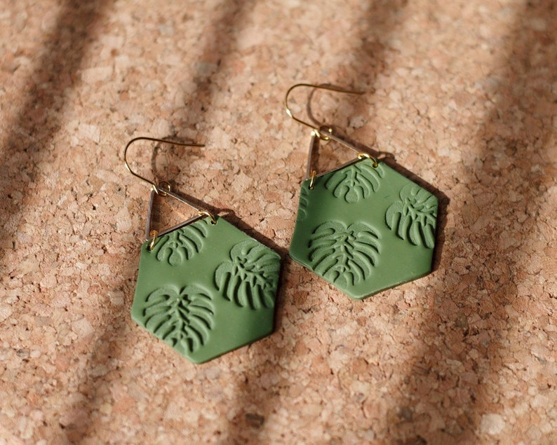 Polymer Clay Earrings 2 Colors Classy Gold Triangle Olive image 0