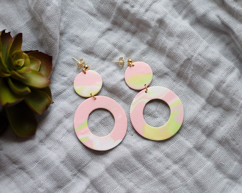 Polymer Clay Earrings Circle Dangle Pink Green White Sage image 0