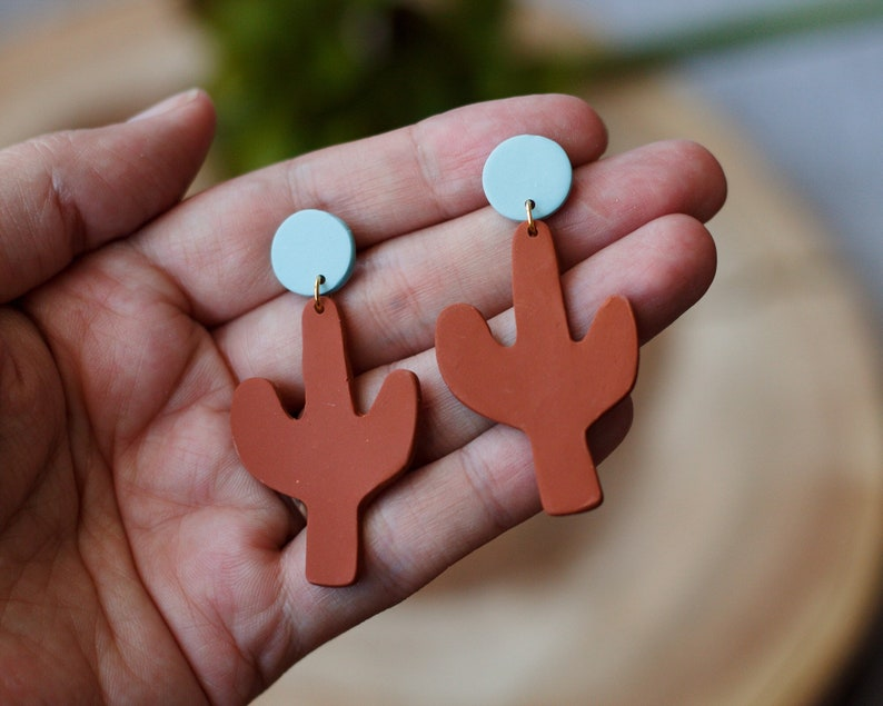 Polymer Clay Speckled Small Circle Small Cactus Dangle Turq./Terra Cotta
