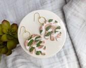 Polymer Clay Earrings, Classy, Peach, Olive Green, Gold Circle, Palm Leaf, Tropical Leaf, Monstera Leaf, Minimalist, Statement