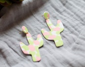 Polymer Clay White Pink Lime Green Circle Cactus Dangle Earrings, Minimalist, Modern, Geometric, Statement Earrings