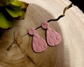 Polymer Clay Earrings, Mauve Pink, Blue Gray, Polka Dots, Small Circle Large Teardrop, Geometric, Statement Earrings