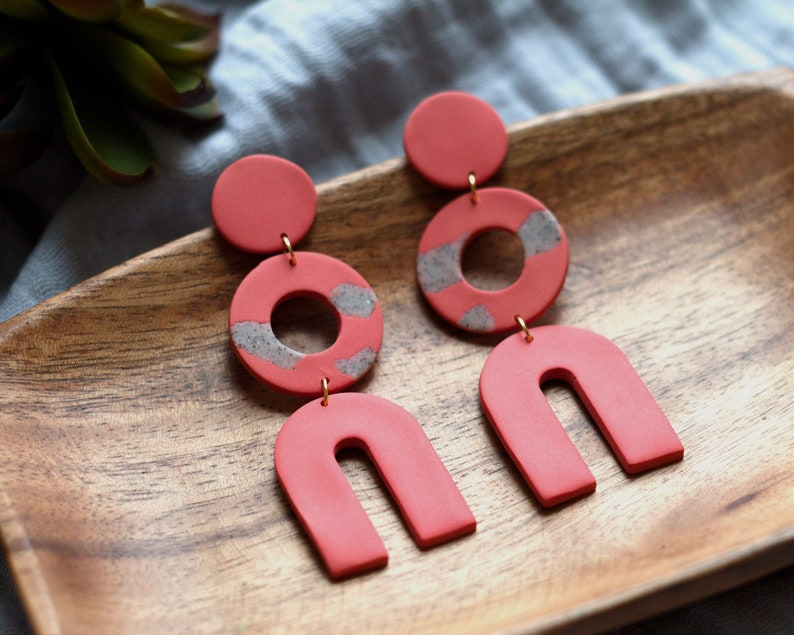 Polymer Clay Earrings Circle Arch Dangle Red Orange Granite image 0