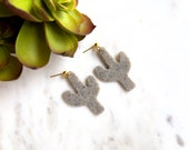 Polymer Clay Speckled Pink, Mauve, Granite Cactus Dangle Earrings, Minimalist, Modern, Geometric, Statement Earrings