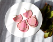 Polymer Clay Earrings, SemiCircle Dangle, Pink with Gold Glitter, Minimalist, Geometric, Statement Earrings