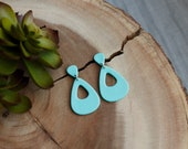 Polymer Clay Earrings, Light Teal Glitter, Mini Teardrop Large Teardrop Cutout, Geometric, Statement Earrings