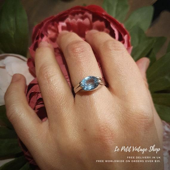 Vintage Silver Aquamarine Statement Ring, Solitair