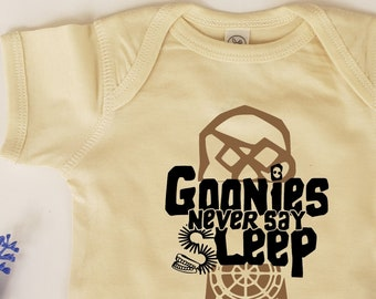 Available in sizes newborn Customized Goonies /'Never Say Die/' 100/% organic cotton bodysuit 2T