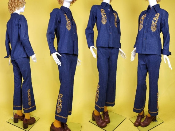 1970s denim suit set with all the bells & whistle… - image 2