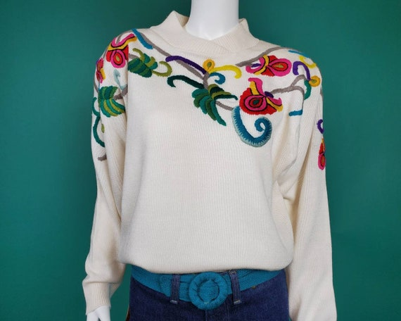 Vintage 1980s embroidered yarn sweater. Colorful,