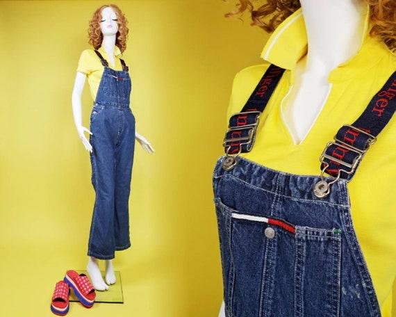 1990s Tommy Hilfiger denim overalls. Lots of brand