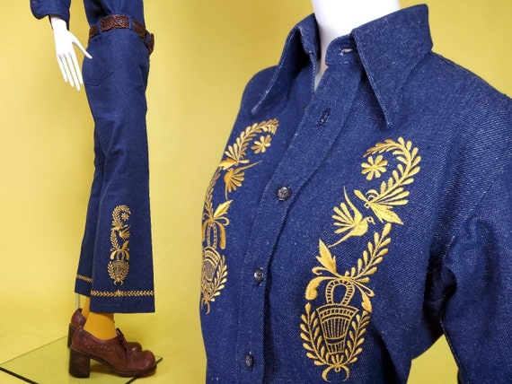 1970s denim suit set with all the bells & whistle… - image 1