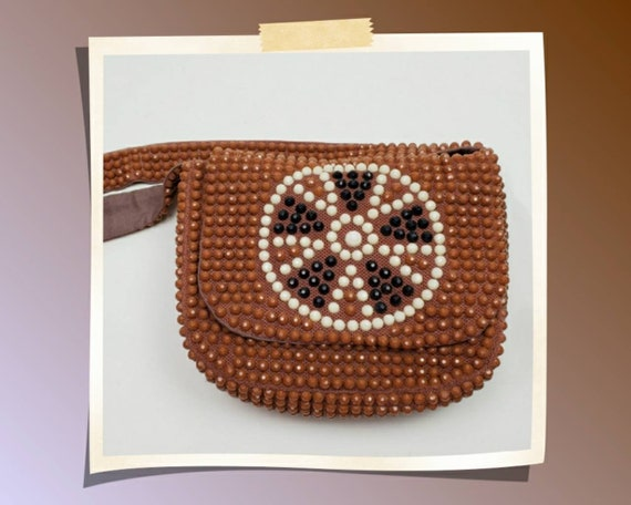 Vintage 70's beaded purse. Autumn shoulder bag. Ro