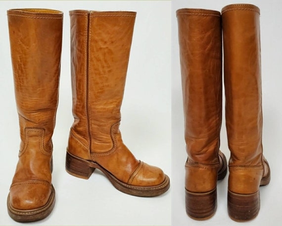 A wearable relic. Vintage tall leather 1970's boot