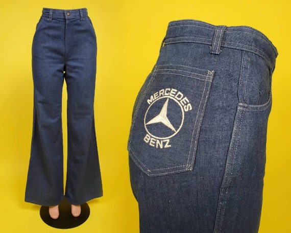 1970s Mercedes Benz embroidered blue jeans. High r