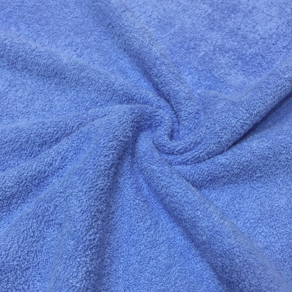 BLUE Double Sided Cotton TERRY TOWELLING Fabric Material