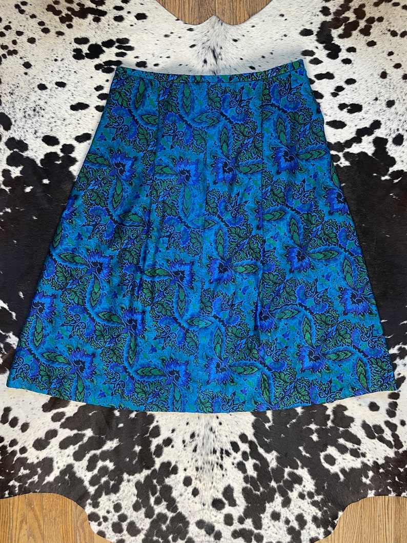 70s Vintage Blue and Green Psychedelic Handmade Skirt  1970s High Waisted Floral Hippie Skirt  70s Glam Style Bohemian Skirt  Size Large