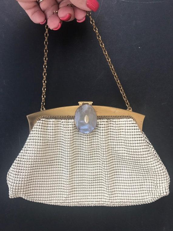 Vintage High Quality White Mesh Evening Bag Whitin