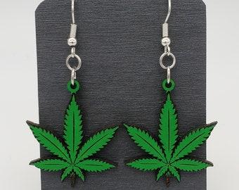 Dangle earrings weed,pot leaf POT LEAF EARRINGS--  Green Mary jane green,bud,leaf Fish hook Earring 420