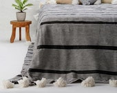 Cotton Moroccan Pompom Blanket,bedroom blanket,moroccan throw blanket, moroccan pompom blanket black and white stripes with white pompoms