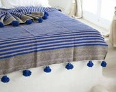 POM POM BLANKET - Tassel Throw Blanket - Moroccan Wedding Blanket - Handmade King Size Blanket - Housewarming Gift - Cotton Blankets