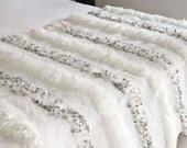 Moroccan Wedding Blanket Handira white with Metal Sequins,moroccan carpet,wedding throw,vintage blanket,Handmade High Quality,gift for dad
