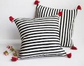 Moroccan cotton pillows , 20x20 , Tassel Pillow Cover , black white stripes ,red pompoms , pom pom pillow cover , tassel pillow