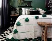 Moroccan Pom Pom Throw Blanket - Soft Cozy Cotton Moroccan Pom Pom Blanket , King size blanket , green stripes , moroccan blankets