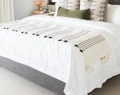 COZY THROW BLANKET - Moroccan Bedding Large Blanket - Berber Black Stripes Cotton Blanket - King Size Blanket - Handmade Pom Pom Blankets