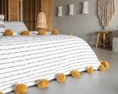 Moroccan Pom Pom Throw Blanket - Soft Cozy Cotton Moroccan Pom Pom Blanket , King size blanket , white with black stripes , gift for him