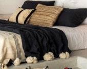Moroccan blanket,Black blanket,white ivory pompoms,pompom throw blankets,coverbed,cotton blanket,handmade blanket,King Bed size Gift for dad
