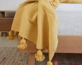 Pom pom throw , woven blanket , cotton blanket , pompom blanket , throw blanket , yellow mustrad , pom pom throw , blanket with tassels