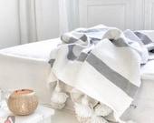 Beautiful Moroccan Boho Blanket,Moroccan blanket,Moroccan throw Blankets,Pompom Blanket,Pom Poms,moroccan throw blanket,Pom Poms Bed Cover