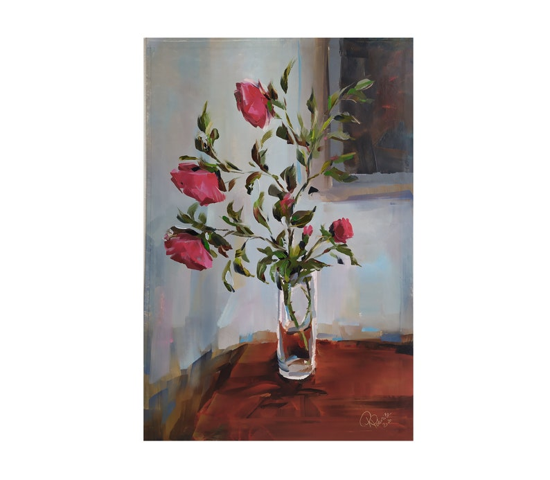 Original  painting RED ROSES flowers on vintage poster cardboard Wall decor ART work