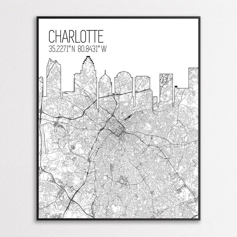 Charlotte North Carolina Charlotte Map Print Charlotte City Skyline Print Map of Charlotte Charlotte Map Poster Charlotte Canvas