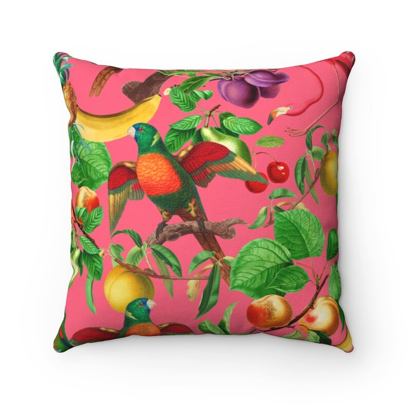Tropical Pillow Cover Chintz Decor Flamingo Parrot Gift for Her Mom Daughter Friend Wedding