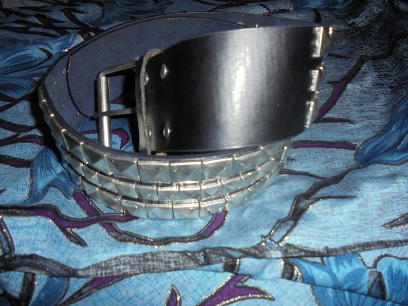 Vintage Handmade Genuine Leather Belt Pyramid  eyelets  Handcrafted Solid Italian  Belt Punk  Black Vintage black leather belt with eyelets