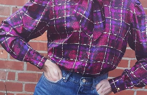 Purple pink check 80s vintage bow statement collar