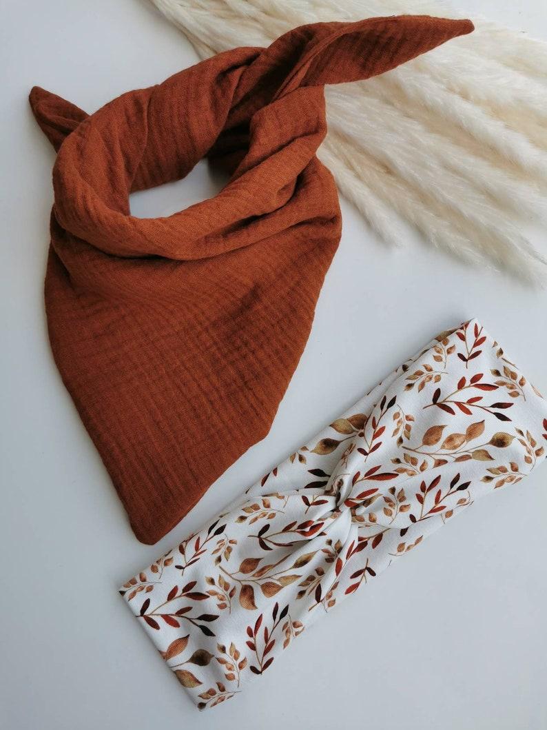 Set muslin towel  triangular scarf  scarf for children and babies and headband  headband brown leaf case